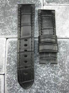 24mm XL Noir Déploiement Bracelet Cuir Extra Large de Montre Pour Panerai 1950 F