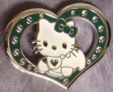 Pewter Belt Buckle Cartoon Hello Kitty Heart NEW green