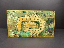 Mexican Aztec Mid Century Inlay Azurite Brass Cedar wood Cigarette Cigar Box