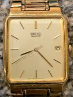 Retro Vintage Classic Seiko Quartz Date Gents Dress Watch 5Y32-5050