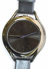 NWT Armani Exchange AX4252 Gunmetal-Plated Case Grey Leather Strap Ladies' Watch