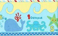 TROPICAL FISH Under the sea Wallpaper Border Ocean Blue Kid's room Wall Decor