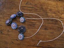 HANDMADE Necklace Buttons Blue Purple Craft Unique Choker