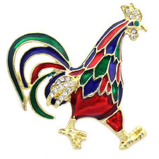 Animal Bird Brooch Pin Jewelry Colorful Chicken Chick Rooster Cock Farm
