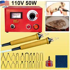 110V 50W Woodburning Detailer Laser Pyrography Machine Craft Wood Burning Kit Us