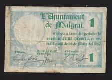 F.C. MALGRAT (BARCELONA) 1 PESSETA 1937, S/B. EBC-. SUCIO.