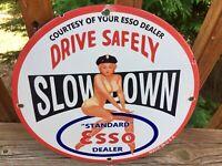 "Vintage Esso Gasoline Heavy Porcelain Gas & Oil Sign 12"""