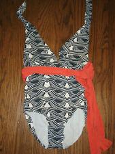 New listing Anika womens bathing suit swim swimwear 1 piece small  blue white low cut belt