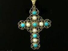 CP277 ORNATE Genuine 9ct Solid Gold Natural TURQUOISE & PEARL Cross Pendant