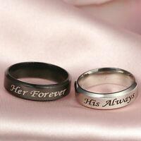 Titanium Steel Forever Love Ring Men Women Promise Couple Wedding Band Ring