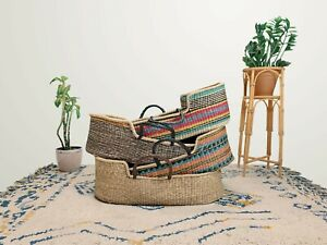 Handwoven Baby Moses Basket Ethically sourced fair trade vegan plus mattress