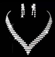 Nuptiale mariage 3 rangée strass strass bijoux boucles d'oreilles collier Sparkle Set