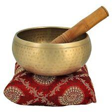 "Brass Buddhist Singing Bowl Bell Set Zen Meditation Gong Sacral Chakra 5"" Inches"