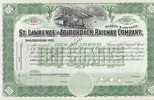St Lawrence Adirondack Railway Company 1900'S 100 Shares Stock Certificate RR
