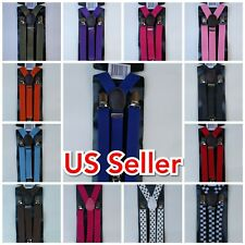 Men Women Clip-on Suspenders Y-Shape Elastic Braces! Solid Colors, B&W Checker!