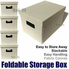 Foldable Canvas Storage Box Collapsible Folding Fabric Kids Toy Rectangle Large