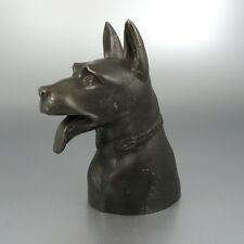 Vintage French German Shepherd Dog Head, Patinated Metal, Signed