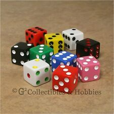 NEW 10 Multi-Color 16mm Dice Set RPG Bunco Game Six Sided 5/8 inch D6 Koplow