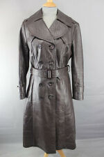 CLASSIC BRITISH MADE VINTAGE 1970's BROWN LEATHER TRENCHCOAT WITH BELT 36 INCH