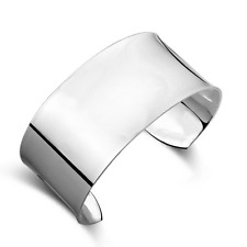 Fashion Women 925 Silver Plated Wide Smooth Surface Bangle Cuff Bracelet Jewelry