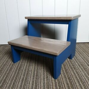 Handcrafted Solid Wood  Toddler Kids Step Stool 2 Step Regal Blue Gray Oak Beach