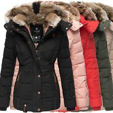 Marikoo Damen Winter Jacke Stepp Jacke Kunst-Fellkragen Warm gefüttert NEU Nekoo