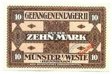 Germany WWI POW German Prisoners Camp Münster II Westfalen Rennbahn 10 Mark XF+