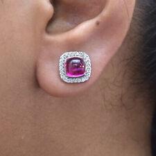Diamond Rubellite Gemstone Stud Earrings 18K White Gold Anniversary Fine Jewelry