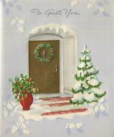 VINTAGE CHRISTMAS BLUE WHITE RED VASE GOLD DOOR HOLLY BERRIES SNOW GREETING CARD