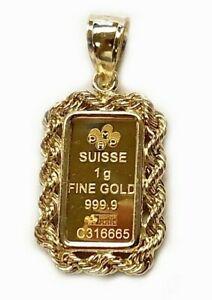 24k Fine Yellow Gold SUISSE 1gr Bullion Ingot 14k Framed Charm Rope Pendant
