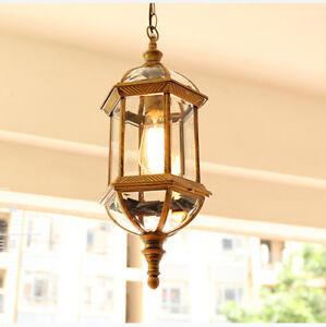 Retro Clear Glass Metal Lantern Outdoor Garden Ceiling Pendant Light Black/Brass
