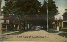 Salamanca NY River St. c1910 Postcard