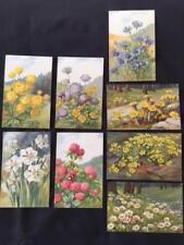 Lot x 8 Antique Postcards by Vouga & Co, Switzerland Artist A Haller Flowers