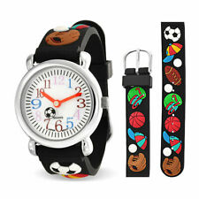 All Star Baseball Soccer Football Wrist Watch Quartz Black Wristband