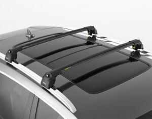 Turtle Black Air 2 Roof Rail Racks Cross Bar for Cadillac Escalade, Escalade ESV