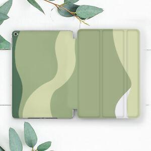 Abstract Green Stripes Waves Case For iPad 10.2 Pro 12.9 10.5 9.7 Air 3 Mini