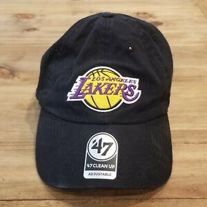 Los Angeles Lakers Hat Strap Back Adjustable Black Adult '47 Brand NBA