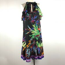 Eva France Womens Floral Print Ruffle Maxi High Low Dress Sz 4 Black Sleeveless