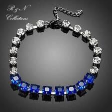Platinum Plated Blue Swiss Cubic Ziconia Bracelet/Bangle (B410-25)