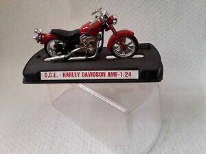 RARE !  1/24 GUILOY - Moto HARLEY DAVIDSON AMF rouge sur socle