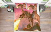 3D Dragon Flame ZHUA2167 Bed Pillowcases Quilt Duvet Cover Set Queen King Zoe