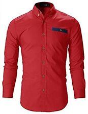 FLATSEVEN Mens Designer Slim Fit Shirt / Red / SH143 / Size -XXL