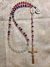 "Hand Made ""PROUD TO BE AMERICAN  ROSARY"" CZECH Beads, St. Michael Center *NEW*"