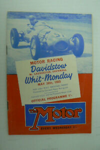 1955 MOTOR RACING PROGRAMME @ DAVIDSTOW , CORNWALL . PETER COLLINS