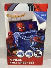Spider-Man 4 Piece Full Size Sheet Set Pillowcases Microfiber Bedding Marvel NEW