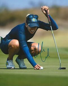 PERNILLA LINDBERG signed LPGA 8x10 RIO OLYMPICS SWEDEN photo with COA A