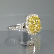 925 Sterling Silver Cushion-Cut Fancy Canary Yellow CZ Halo Pave Engagement Ring