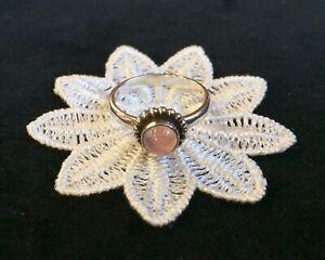 GEORG JENSEN Silver/Pink Quartz 'Moonlight Blossom' RING #9B GJ own. N; 53; 61/2