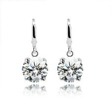 18CT White Gold Finish Faux Diamond Classic Earring Bridal Prom Gift Silver-Tone