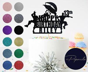 Personalised Birthday Fortnite HAPPY BIRTHDAY Gamer Glitter Cake Topper